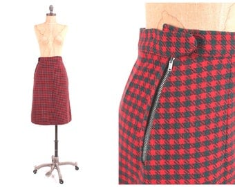 1950s red wool high waist skirt ladies vintage fitted pencil bombshell aline plaid knit midi small