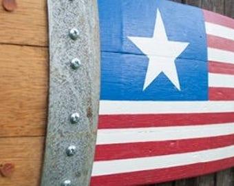 Banded Barrel Stave American Flag