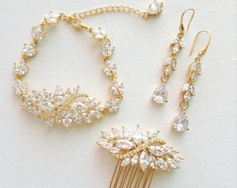 Wedding Jewelry Set, Gold Hair Comb, Earrings & Bracelet, CZ Bridal Jewelry