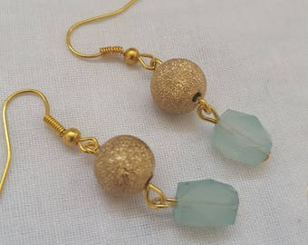 Gold Sparkly Earrings with Pale Teal Green Glass drop beads gold tone
