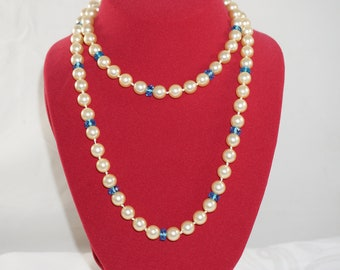 Joan Rivers Faux Pearls Aquamarine Blue Glass Bead Long Necklace