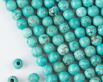 Large Hole Turquoise Howlite 8mm Round with 2.5mm Drilled Hole