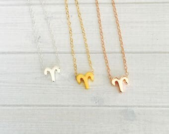 Aries Zodiac Necklace - Aries Zodiac Symbol Necklace - Aries Zodiac Sign Necklace - Aries Zodiac Jewelry