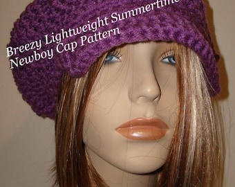 Breezy Lightweight Summertime Slouchy Newsboy Cap Hat Pattern Only(In PDF digital download only)May sell the finished item/Hat Pattern