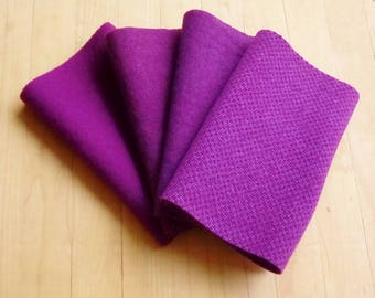 """Hand Dyed Wool Felt, RED VIOLET Four 6.5"""" x 16"""" pieces in Regal Reddish Purple, Perfect for Rug Hooking, Applique', and Crafts"""