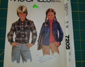 Boys or Girls Western style Shirt 12 McCalls 7205