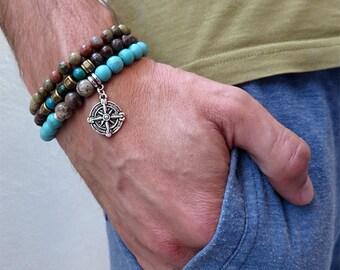 Bracciale da uomo,stone bracelet,bracciale per lui in pietra perle,nautico,bussola,rosa dei venti,crisocolla,ossidiana