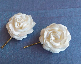 Beautiful accessories, Hair Pins with Ivory Satin  Flowers, Wedding Accessories, Hair Accessories, Hair Pins,OOAK