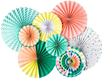 Neon Party Fans -Paper Lollies-Photo Backdrop-Birthday Party-Wedding Decorations - Unicorn Party - Donut Party - Party Fans