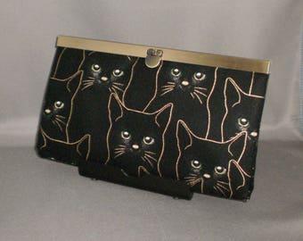 Wallet - DIVA Wallet - Clutch Wallet - Cats - Black - Antique Brass