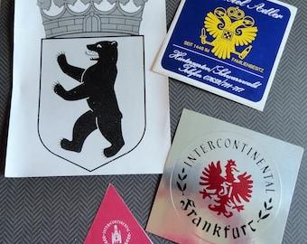 Travel Ephemera from German Vintage Stickers from Landeswappen Hotel  Park Hotel Adler Intercontinental Berlin  Lot of 4