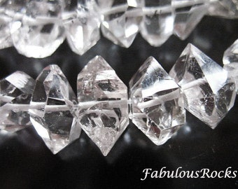 3-100 pcs, Herkimer Diamonds Nuggets / choose .. 8-10 or 10-12 mm, Double Terminated Briolettes, Luxe AAA / wholesale herkimer, M L  crc