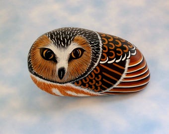 Owl fine art painted rocks 3D art object for home office Holiday gift ideas best friend coworker teacher accessories figurines collectible