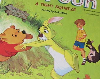 Vintage 1965 Big Golden Book Winnie the Pooh a Tight Squeeze