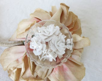 Gorgeous Antique Vintage French Deep Lucite Rose Floral Brooch, Romantic White Roses, Pretty Paris Chic Jewelry Accessory, Vintage Costume