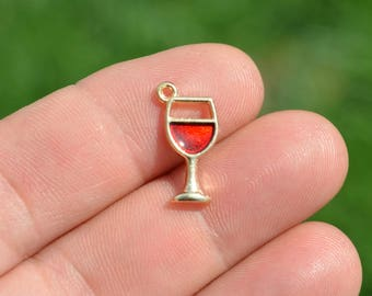 5 Gold Plated Glass of Red Wine Charms GC1924