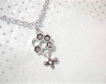 Bee Necklace Bee Hive Necklace Silver Bee Pendant Summer Necklace Bee Jewelry Honey Bee Necklace