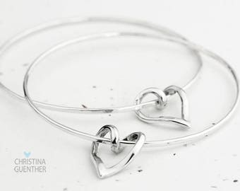 Entwined Heart Bangle, Handmade Sterling Silver Bangle with Sterling Silver Open Heart, Gift for Her, Stacking Bracelets, Christina Guenther