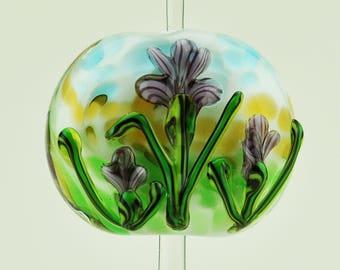 Handmade Lampwork Focal Bead Light Purple Iris SRA by HallockGlass