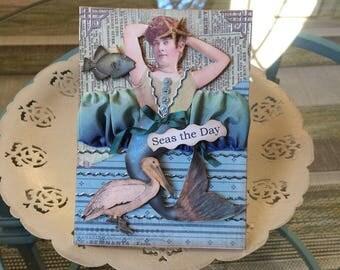 Vintage-style Beach Themed Card - Mermaid Card - Vintage-style Mermaid - Whimsical Mermaid Card