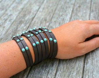 CONROE Leather Turquoise Stone Leather Cuff Bracelet, Southwestern Bracelet, Cowgirl Western Bracelet, Boho Bracelet, Cuff Bracelet