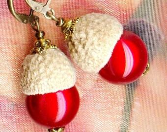 ACORNS earrings ✿ ✿ OR764 forest red berries