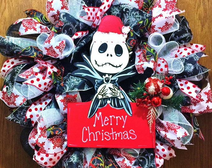 SALE- Jack Skellington Nightmare Before Christmas - Welcome Door Wreath