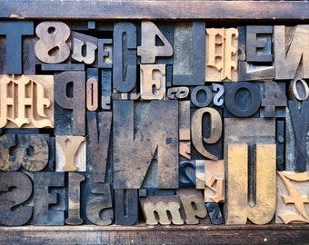 Antique Letterpress Printers WOOD TYPE Mix 52 Pieces