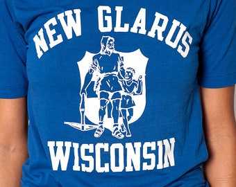 The Vintage Royal Blue New Glarus Wisconsin Athletic Sport 50/50 Tee T-Shirt
