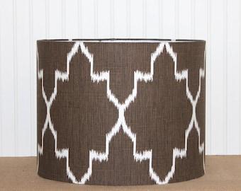 Ikat Drum Shade - Coffee Bean - Brown Lamp Shade - Modern - Table Lamp Shade - Brown Ikat - Monaco