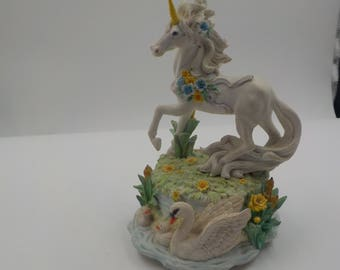 Mystical Unicorn Music Box - Porcelain - Stunning - Detailed Artwork - Unicorn Sculpture - Figurine