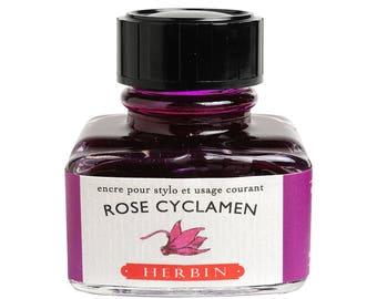 """J. Herbin Fountain Pen Ink """"D"""" -  Rose Cyclamen - 1 oz Bottle"""