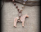 "Quarter Horse  Kiln Fired Pottery Pendant, Livestock Jewelry, Leather & Bead/Chain  Necklace, Approx 29"" (end to end)"
