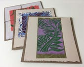 Fern Cards, hand-printed art cards, original art cards, block-printed cards, folded card with kraft envelope, botanical prints