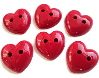 Heart Vintage Buttons - 6 Cherry Red Sew Through Novelty Buttons 3/4 inch 19mm for Sewing Knitting Embellishments Scrapbooking