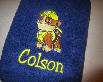 Paw Patrol Rubble Embroidered Towel
