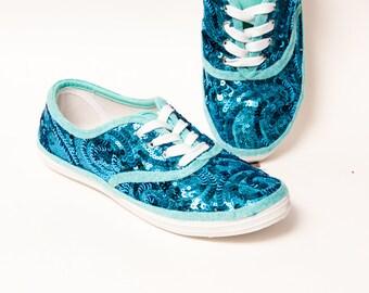 Sequin - Swirl CVO Malibu Blue Canvas Sneaker Tennis Shoes
