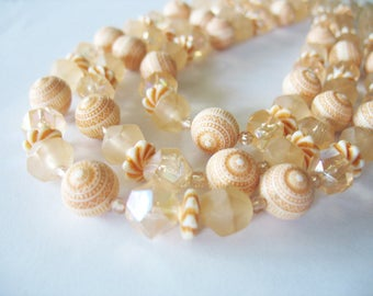 Triple Strand Beaded Necklace, Statement Necklace, West Germany, Lucite, Peach Orange, 1950's, Lightweight