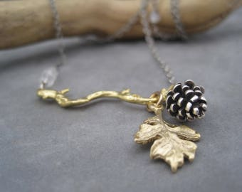 Pinecone and Leaf on Branch Necklace - Pinecone Jewelry - Mixed Metal Charm Necklace - Moonstone Accents - Twig Jewelry - Branch