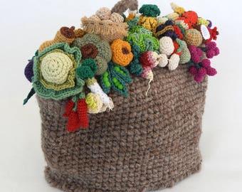 Dome Tea Cosy, Fruit & Vegetable Tea Cosy, Hand spun Crochet Tea Cosy,  OOAK Tea Cosy, Tea Cozy