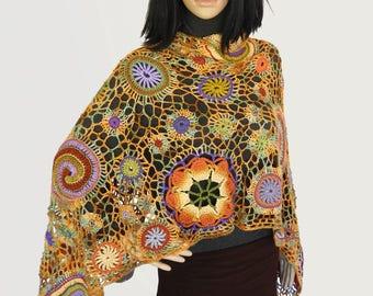 Freeform Crochet Shawl Wrap Stole Scarf, OOAK Silk & Wool Freeform Crochet, Women's luxury shawl wrap