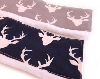 SALE Deer Burp Cloths, Navy Gray  Animal Boy Burp Cloth - Diaper Burp Cloth set of 2 // Animal Burp Cloth // Baby Shower Gift / Cotton Burp
