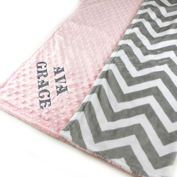 Minky Baby Blanket, 42 x 55 Personalized Baby Blanket / Pink Chevron Baby Blanket / Crib Bedding / Gray Chevron Blanket / Kids Minky Blanket