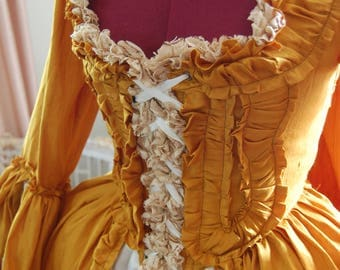 Golden yellow sack back dress cream satin skirt Marie Antoinette Victorian inspired rococo costume dress
