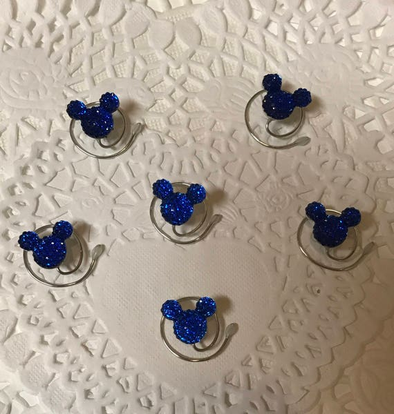 Qty 6 Minnie MOUSE EARS Hair Swirls-Disney Wedding-Royal Blue Acrylic Hair Coils-Hidden Mickeys-Original Creator of the Mouse Collection