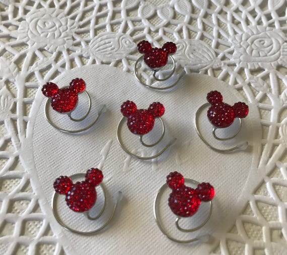 Disney Wedding-6 Red Minnie MOUSE EARS Hair Swirls--Cinderella Gift- Hair Coils-Red Hidden Mickeys-Original Creator of Mouse Collection 2012