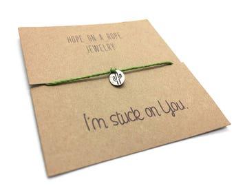 Cactus Bracelet - Cord Bracelet - Southwestern Bracelet - Funny Cactus Bracelet - Sterling Silver Bracelet - Cactus Jewelry - Bracelet Card