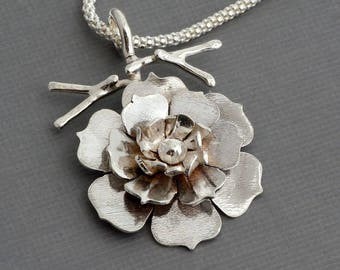 Sterling silver flower branch pendant necklace botanical nature floral jewelry unusual gift for her artisan handmade wedding necklace