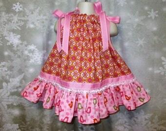 Baby Girl Dress 12M-18M Orange Pink Geo Design Pillowcase Dress, Pillow Case Dress, Sundress, Boutique Dress