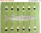 ON SALE 15% OFF Cij2017 Vintage Towel Fish Lures Mid Century Man Cave Father's Day Gift